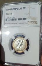 NGC Bahamas 5 Cents 1966 Graded MS 65 This Coin Is Gorgeous !!!