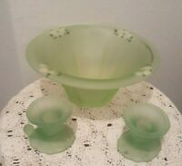 ART DECO Green GLASS CONSOLE 3 PC SET CANDLESTICKS & BOWL HP Pink Embossed Vtg