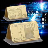 WR European Union 500 Euro Note 24K Gold Bar Ingot Collector Banknote Gift