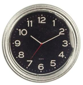 Dolls House Modern Silver Chrome Round Wall Clock Miniature 1:12 Scale Accessory