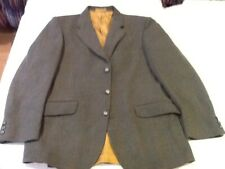 BLADEN-HACKING JACKET-SUPERSAX-40R-GREEN HERRINGBONE-100% WOOL-WAISTED-3 BUT-VGC