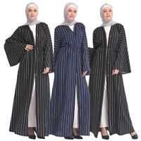 Muslim Women Stripes Open Abaya Long Maxi Dress Cardigan Dubai Robe Kimono Party