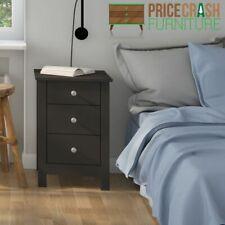 Florence Shaker Style 3 Drawer Bedside Cabinet Table Black Bedroom Furniture -e