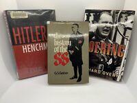3 HC DJ Books on Nazi War WWII: History of SS, Goering, Hitler's Henchmen