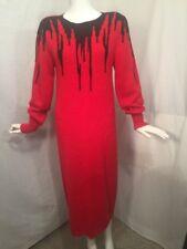 Vintage 1980's JOHN RICHARD Black Red Sweater Dress New Wave Size Med FUZZY