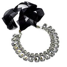 Collar Tela De La Cinta Cadena Estrás transparente claro diamantes imitación