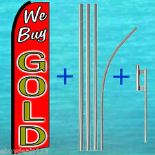 WE BUY GOLD SWOOPER FLAG + 15' POLE + MOUNT Advertising Sign Feather Banner 1537