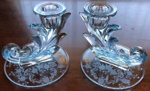 "FOSTORIA Baroque MEADOW Rose AZURE Blue RARE Candlestick CANDLE Holder 4"""