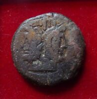ROMAN REPUBLIC Æ As 2ndc BC L. Semprenius Pitio Janus head / Prow of galley ROMA