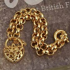 Lovely 14K Yellow Gold Filled Heart Hollow Womens Wirst Chain Link Bracelet