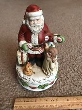 Homco Christmas Santa W/ Girl Music Box.works.Santa Claus Is Coming To Town