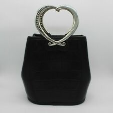 Brighton Corazon Double Heart Handle Bag Black Vintage Silver $190 Chic Designer