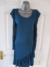 OASIS Stunning Teal Colour Fitted Frill Hem Structured Shoulder Dress Sz S