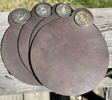 Remington 12 Ga. Brass-Leather Set Of 4 Round Coasters*Great For A Man Cave*Nice