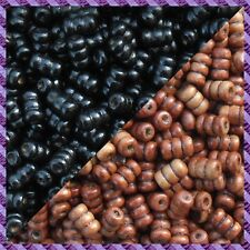 100 Perles Legno Tubo 2 coloris Nero / Marrone Scurire