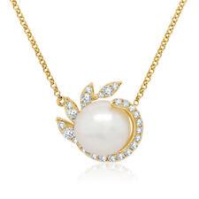 0.24CT 14K Oro Amarillo Natural Real Perlas de Agua Dulce Colgante con Diamante