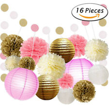 16Pcs Pink and Gold Party Decor Kit Paper Lantern Circle Garland for Birthday