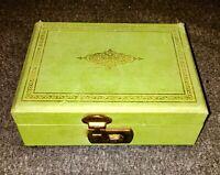 "vintage GREEN W/GOLD Watermelon THORENS SWISS JEWELRY MUSIC  BOX  ""STARDUST"""