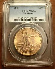 1908 No Motto Gold $20 Saint Gaudens Double Eagle Coin ~ PCGS MS63 ~ (#124)