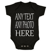 Your Text Here PHOTO Baby Vest Grow Bodysuit Personalised Gift Any Name IMAGE