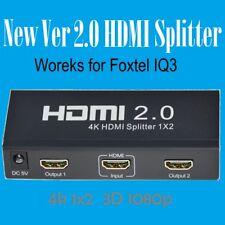 New 4k *1080p ver 2.0 HDCP2.2  HDMI Splitter 1x2 Port  Works for Foxtel IQ