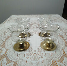 4 Vintage Home Interiors Clear Glass Ruffled Flared Rim Votive Candle Peg Cups