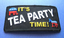 BRAND NEW IT'S TEA PARTY TIME POLITICAL IRON ON PATCH