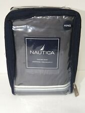 Nautica King Bed Skirt Anchorage NEW Grey 100 Cotton Juponnage
