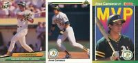Jose Canseco lot of 3 different Oakland Athletics baseball cards