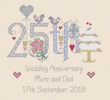 25th Wedding Anniversary Numbers Cross Stitch Kit