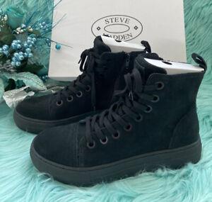 STEVE MADDEN ORMISTEN Black Suede High Top Sneakers Boots Shoes Mens SZ 8