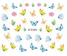 Nail Art Decals Transfers Stickers Yellow Blue Butterflies (E585)