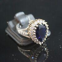925 Sterling Silver Handmade Gemstone Turkish Sapphire Ladies Ring Size 7-10