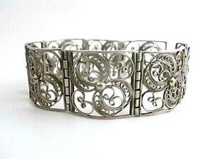 Filigranarbeit - Wunderschönes breites 835 Silberarmband - Silberarmband
