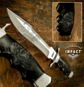 IMPACT CUTLERY RARE CUSTOM D2 BOWIE KNIFE SCRIMSHAW WORK BULL HORN HANDLE
