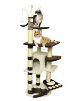 """64"""" Brown White Pet Cat Tree Play House Tower Condo Bed Scratch Post Toy Balls"""