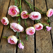 Bunch of Faux Silk Pink Ranunculus, Realistic Artificial Wild Flowers