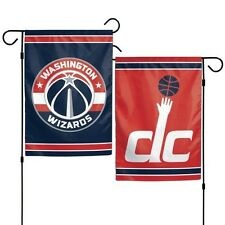 """WASHINGTON WIZARDS DOUBLE SIDED GARDEN FLAG 12""""X18"""" YARD BANNER OUTDOOR RATED"""