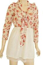 RJ STORY SZ 8-10 WOMENS Red Cream Floral Ruffle Frill 3/4 Sleeve Short Tea Dress