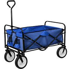 Carrello a mano giardino carretto pieghevole rimorchio di trasporto carichi blu