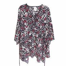 Fashion Bug Shirt Black White Red Asymmetric Hem  Size 18/20W  NWOT #A2