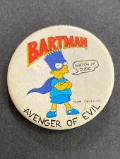 "Vintage 1980's Bart Simpson Bartman ""Avenger of Evil"" Pin Button"