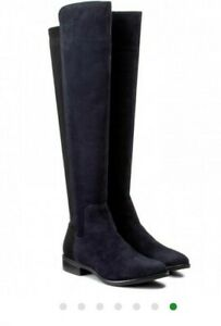 Clarks UK 5 EU 38 Caddy Belle Blue Suede Leather Boots Knee/Over Knee Flat