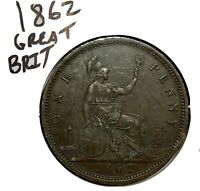 1862 Great Britain Queen Victoria Bronze One Penny