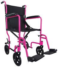 Aidapt Folding Lightweight Aluminium Compact Transport Wheelchair - Pink