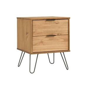 Industrial Wooden Bedside Cabinet End Side Tables Nightstand Storage 2 Drawer