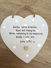 Shabby Chic Wooden Heart Auntie Decorative Plaques & Signs