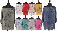 New Italian Ladies Floral Lagenlook Off Shoulder Cotton Top Size 10 12 14 16