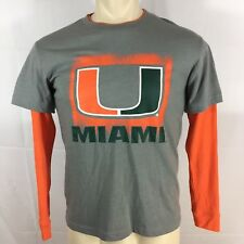 Colosseum Miami Hurricanes Youth Orange & Grey T Shirt Athletics Football SZ: L