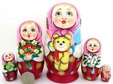 Russische Matrjoschkapuppen Matryoshka & Teddybär Handbemalt Girls Matt Veselova